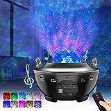 Lampe Projecteur LED Étoile, Lumière Projecteur Bluetooth Simulation des nuages 12 Modes Musicale Commande Minuterie avec Télécommande Enceinte Intégré pour Décoration des Chambres/Enfants/Fête