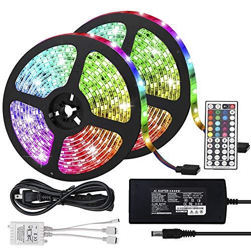 ELENKER LED Strip Lights Kit, Flexible Color Changing 5050 SMD RGB 600 LEDs 32.8ft 10m with 44 Keys IR Remote Control and 12V Power Supply for DIY Home Bedroom Kitchen Decoration Lighting