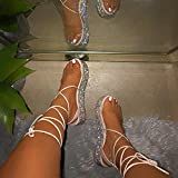 ZZLHHD The Drop Listilla,Zapatos de Encaje de Mujer de Gran tamaño, Sandalias Gruesas de Muffin-White_40,Sandalias Mujer Cuña Alpargatas
