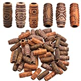 Aylifu Hair Tube Beads, 60 Pieces Imitation Wood Beads Dreadlock Hair Beads Hollow Out Tube Beads DIY Accessory for Hair Braiding Decoration - Mixed Color