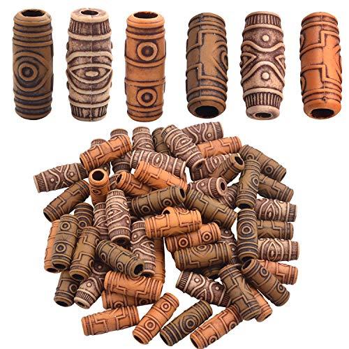 Haarperlen Dreadlocks, 60 Stück Holz Look Haar Tube Perlen Dreadlocks Perlen Muster Holzfarbe aus Acryl Haar Flechten Haar Dekoration Haarschmuck