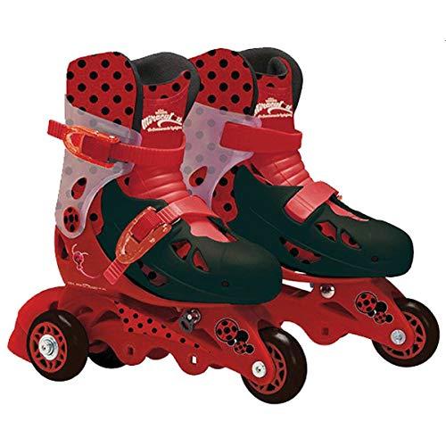 Patins 3 Rodas Ajustável 29-32 Ladybug com Acessórios de Segurança Miraculous Vermelho/Preto