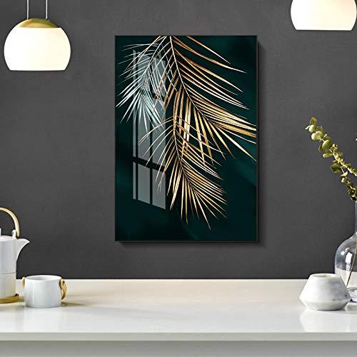 xinyouzhihi Golden Leaf Print Poster Leinwand Bilder Zusammenfassung Ölgemälde auf Leinwand Wandkunst Home Decoration Wand 60x75cm Kein Rahmen