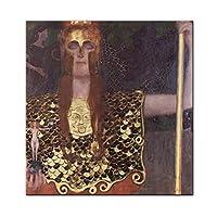 絵画複製アート壁の装飾-有名な油絵複製アートグスタフのクリムトによる女性の肖像画-キャンバスHDプリント-現代の抽象的なアートワークの画像ポスター,80×80cm