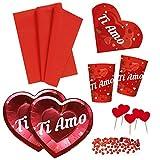 Zeus Party Kit N.6 Coordinato con Tovaglia, Piatti, Bicchieri, tovaglioli, Confetti e Picks Cuore - Anniversario Matrimonio Decorazioni Ti Amo Love