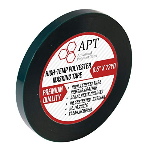 "APT,2 Mil Polyester Tape with Silicone Adhesive, PET Tape, high Temperature Tape, 3.5 mil Thickness, Powder Coating, E-Coating (1, 0.5"" x 72Yds)"