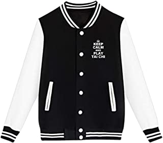WFIRE Baseball Jacket Keep Calm and Play Tai Chi Custom Fleece Varsity Uniform Jackets Coats for Youth
