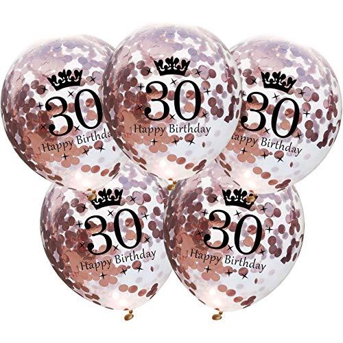 DIWULI, 5 Stück Geburtstags Luftballons, Zahl 30, Happy Birthday, Roségold Konfetti Sterne Latex-Ballons, Latex-Luftballons, Zahlen-Ballons, Ballon-Set Deko Rose-Gold 30. Geburtstag, Party, Dekoration