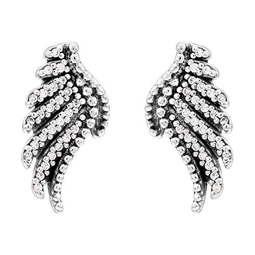 Pandora Majestic Feathers Silver Stud Earrings With Clear CZ 290581CZ