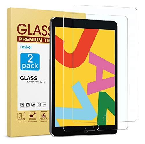 apiker [2 Packs Protector Pantalla Tablet Compatible con iPad 8 generación/iPad 7 generación,10.2 2019/2020 A2197 A2198 A2200, Cristal Templado Tablet Premium [9H Dureza] [Alta Definición]