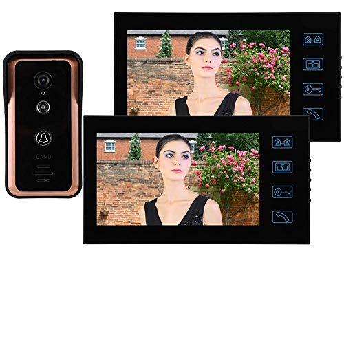 Sistema de intercomunicador con Timbre de Video con Cable, Kit de Timbre de Video con Control de Puerta de Acceso, intercomunicador de videoportero de Seguridad para el hogar(EU Plug)