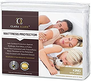 Clara Clark King Size - Hypoallergenic Water-proof Mattress Protector, - Bed Bugs, Dust Mites, Pollen, Mold And Fungus, Proof