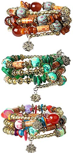 Finrezio 3 Sets of Bohemian Beaded Bracelets for Women Girls Multilayer Stretch Bracelet