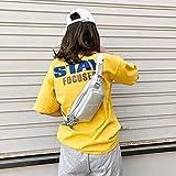 Casa & Giardino Moda Tinta Unita Lettera A PU Single Shoulder Bag Zipper Messenger Bag Casual Tasche Petto Petto della Vita (Nero) Casa & Giardino (Colore : Silver)