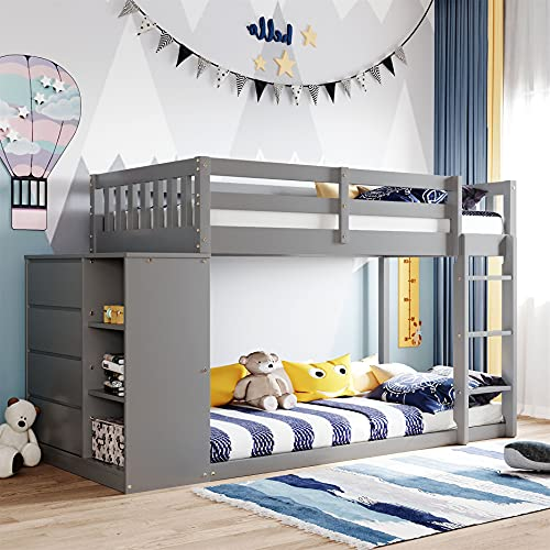 Twin Over Twin Bunk Bed with Storage, Wood Bunk Beds with 4 Drawers and 3 Shelves, Low Bunk Beds for Kids, Toddlers Girls Boys, Teens, Adults (Grey)