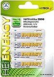 HR06 / Mignon / AA, 2000 mAh, 1,2 V Rechargeable Énergie maximale Respect de l'environnement Charge normale: 16 heures à 80 mA Charge rapide: 1,1 heures. avec 800 mA.
