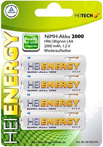 HEITECH AA Akku Mignon 2000 mAh 1,2V NiMH TÜV geprüft 4 Stück - Wiederaufladbare Batterien mit geringer Selbstentladung - Akkus für Geräte mit hohem Stromverbrauch