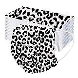 fasloyu 10/20/50/100 Stück Einweg-Mundschutz Multifunktionstuch Atmungsaktiv Maske Motorrad Mund-Nasen Bedeckung Leoparden Halstuch Schal Herren Damen