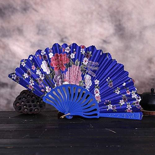 Opvouwbare ventilator,mode Vintage Kant Chinese Stijl Dans Bruiloft Handfans Feestjurk Accessoires Donkerblauw Opvouwbaar Zomer Held Flowers Fan