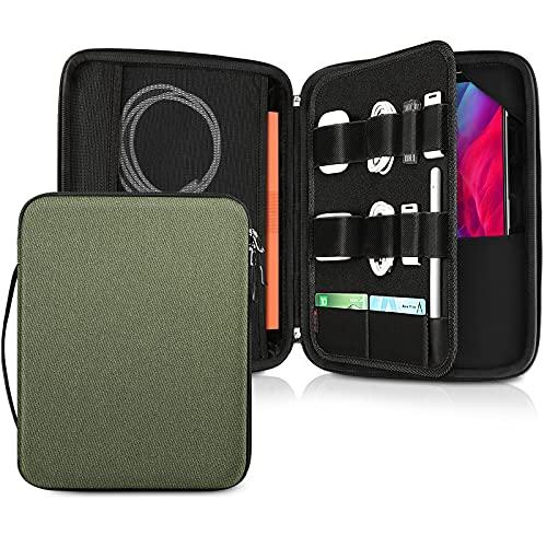 Fintie Funda de Tablet 12.9', Portafolio Bolsa Organizado con Correa de Mano para iPad Pro 12.9 2020-2018, Surface Pro X/7/6/5/4/3, Verde