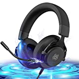 Gaming Headset Compatible with PS4/Xbox One/PC/Switch,Headsets for PS4 with Mic Integrated Audio Controls,Headsets for Xbox 7.1 Surround Sound Over-Ear Gaming Headphones with Microphone