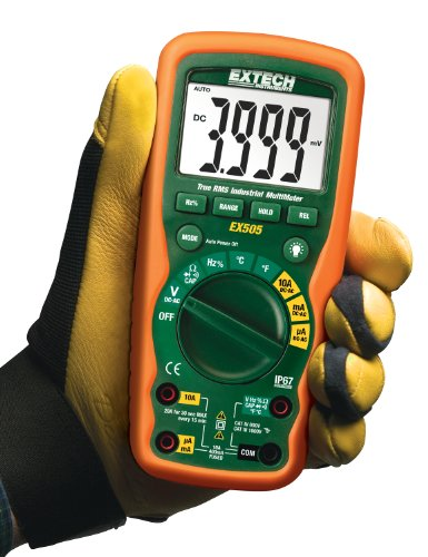 Extech EX505 CAT IV-600V True RMS Industrial MultiMeter with Waterproof (IP67) Rugged Design for Heavy Duty Use