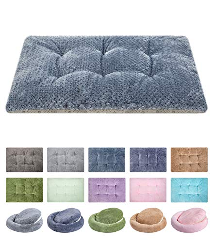 WONDER MIRACLE Fuzzy Deluxe Pet Beds, Super Plush Dog or Cat Beds Ideal for Dog Crates, Machine Wash & Dryer Friendly (15' x 23', S-Dark Blue)