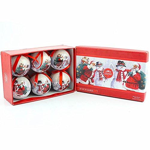 Leonardo Weihnachtsbaumkugel-Set, Weihnachtsmann und Schneemann, in Geschenkverpackung, 6 Stück