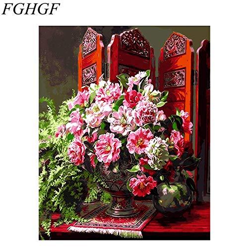 baodanla Sin Marco Cuadro sin Marco Lienzo Aceite para decoración del hogar Flor A1 Al 40X60CM