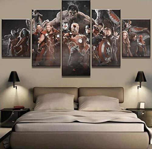 ImpresionessobreLienzo 5 Piezas De Lona Avengers Infinity War Cuadros Decoración sobre Lienzo Arte De La Pared para Decoración del Hogar Sin Marco