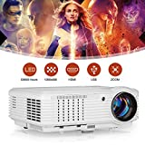 WIKISH Outdoor Movie Projector 4800 Lux 150 Inch Full Hd Video Support,Usb Projector Zoom Compatible with Hdmi Home Theater Laptop Dvd Player Ps4 Mac
