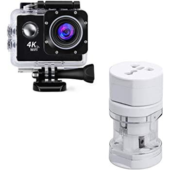 Drumstone 4K WiFi Waterproof Action Camera with International All in One Multi-Socket Adapter Compatible for All Smartphones