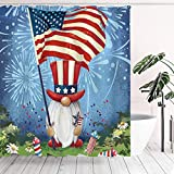 Tititex Duschvorhang-Sets, patriotischer Zwerg winkende USA-Flagge, Badezimmer-Dekoration, 177 x 177 cm mit Haken