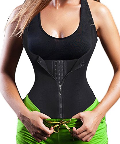 Damen Waist Trainer Shaper Vest Sport Body Cincher Korsett Taille Corsage mit Adjustable Strap (L(Fit 27.5-30.7 Inch Waist), Black (3-5 Days Delivery))