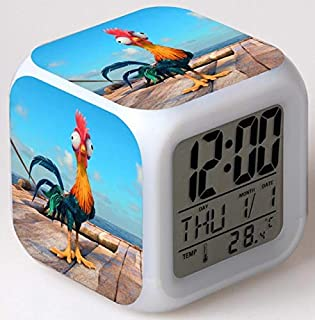 LAJKS Movie Moana Led Alarm Clock with Action Figure Moana and Maui HEI HEI Pig Decoration Clock for Children Toy Boy Must Haves Gift Sets The Favourite Toys Superhero Party Supplies