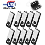 ARETOP 16GB Flash Drive 10 Pack, 16gb USB2.0 with Easy-Storage Bag Pen Drive 16 gig Memory Stick 16gb Thumb Drives USB Stick Memory Stick Fold Date Storage (10 PCS Black)