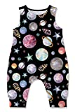 Toddlers Sleeveless T-Shirt Jumpsuits for Infant Funny Red Teal Pruple Orange Planets Graphics Tattoo Overalls Babies Lightweight Snap-up Union Suits Summer Outfits, Size 6-12 Months