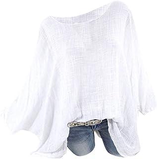 幸運な太陽 女性 ファッション Oネック プラスサイズ ソリッド スリークォーター スリーブ シャツ トップ ブラウス 可愛い 通勤 通学 吸汗通気 かわいい 伸縮性 冷房対策 ゆったり 普段着