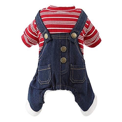 CWYPWDY Huisdier Kleding Retro Denim Jeans Hond Jumpsuits Overalls Winter Warm Gestreepte Huisdier Shirts Single Breasted Kleine Hond Trainingspakken Kleding
