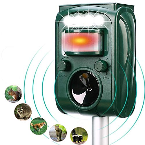 FAYINWBO Outdoor Solar Ultrasonic Animal Repeller. with Motion Sensor and Flash to Scare Away Raccoons, Rabbits, Squirrels, Foxes, Birds, Skunks, etc.