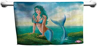 flybeek Floral Hand Towels Mermaid Decor Collection,Fantasy Young Woman Mermaid in Sea Water Lilies Wildflowers Sunrise Cloudy Image,Blue Green Teal,Towel mats for Bathroom