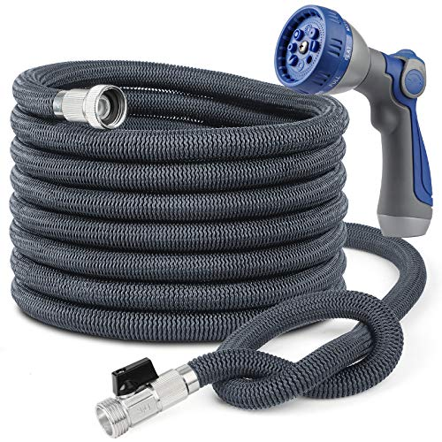"""Garden Hose Expandable Hose 100FT, Flexible Water Hose with Powerful Nozzle, Car Wash Hose with Good Pressure, Kink Free Expanding Hose with 3/4""""Solid Connector, Easier for Watering and Washing"""