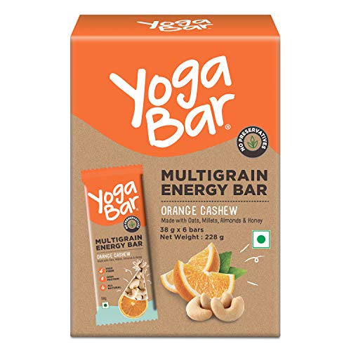 Yogabar Cashew Orange Multigrain-Energy Bars – Pack of 10, Healthy Diet Snacks with Dates, Oats and Millets, Gluten Free and High Protein Crunchy Nut Bar, Packed with Chia and Watermelon Seeds