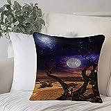 Funda de almohada, funda de cojín Juego de galaxia, estrellas temáticas de fantasía Luna y nebulosa de polvo de estrellas en las noches del desierto con decoración para el hogar Funda de cojín Cuadrad