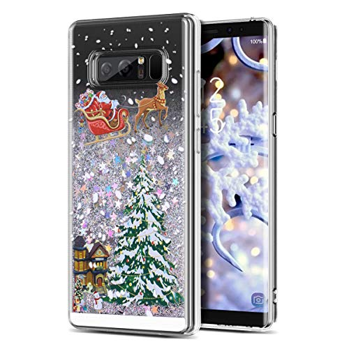 Galaxy Note 8 Case, CinoCase 3D Liquid Case [Christmas Collection] Flowing Quicksand Moving Stars Bling Glitter Snowflake Christmas Tree Santa Claus Pattern Soft TPU Case for Samsung Galaxy Note 8