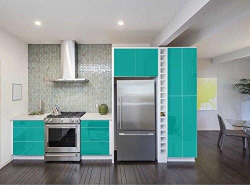 Aufkleber für Küchenschränke 63x500cm GLANZ - Folie aus hochwertigem PVC Tapeten Küche Klebefolie Möbel wasserfest für Schränke selbstklebende Folie Küchenfolie Dekofolie - Türkis