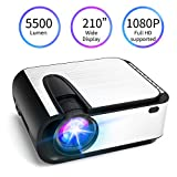 "Mini Projector, [2020 Upgraded] 5500 Lumen Video Projector, 1080P Supported 210"" Display, Compatible"