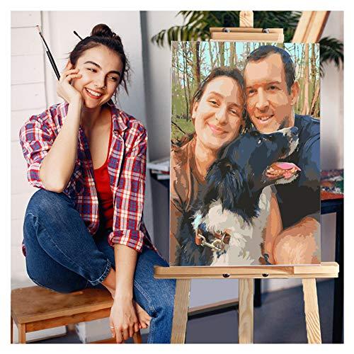 Lovmore Personalisiertes individuelles Malen nach Zahlen für Erwachsene, Malsets für Haustiere und Porträts, Geschenke -Machen Sie Ihre eigene Foto-Zeichnungsfarbe und Pinsel (30*40cm,Mit Rahmen)