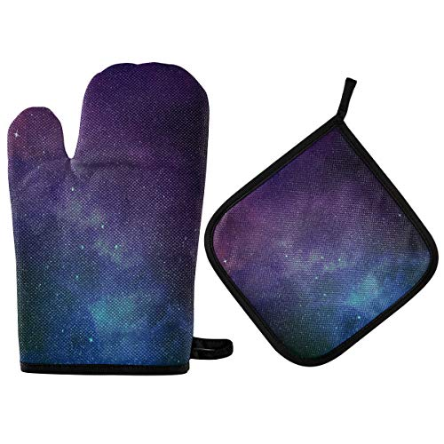 N/E RXYY Universe Stars Nebula Galaxy Oven Mitts Quilted Cotton Lining Potholders BBQ Gloves-Oven Mitts and Pot Holders Heat Resistant Kitchen Gloves Safe Mats forBakingCooking