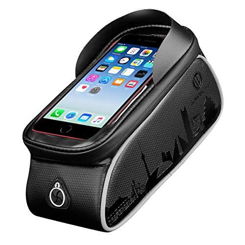 Borsa per Telaio Bici, Custodia Impermeabile per Bici, Custodia per Cellulare con Supporto per Touchscreen per iPhone XS MAX XS X 8 7 6 6S Plus Smartphone Inferiore a 6.0 Pollici